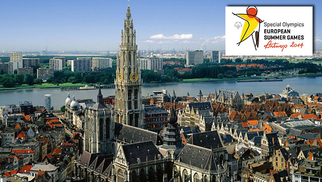 Antwerp with the Special Olympics logo superimposed.