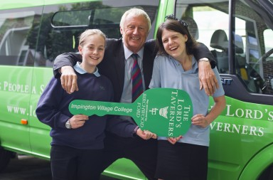 Chris Tarrant with pupils from Impington Village College and their new Lord's Taverners minibus_290611