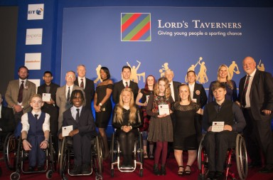 Ellie Simmonds on stage with winners of the Sporting Chance Awards