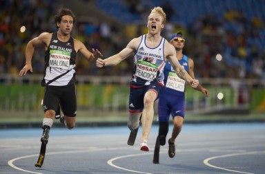 Jonnie Peacock takes the gold in the mens 100 meter T44 final on day 2 of the Rio 2016 Paralympic Games at the Olympic Stadium. 9th September 2016