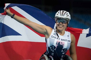 Hannah Cockroft GBR poses with the Union Flag after winning the Women's 400m - T34 Final during the Athletics competition at the Olympic Stadium. The Paralympic Games, Rio de Janeiro, Brazil, Wednesday 14th September 2016. Photo: Simon Bruty for OIS.  Handout image supplied by OIS/IOC